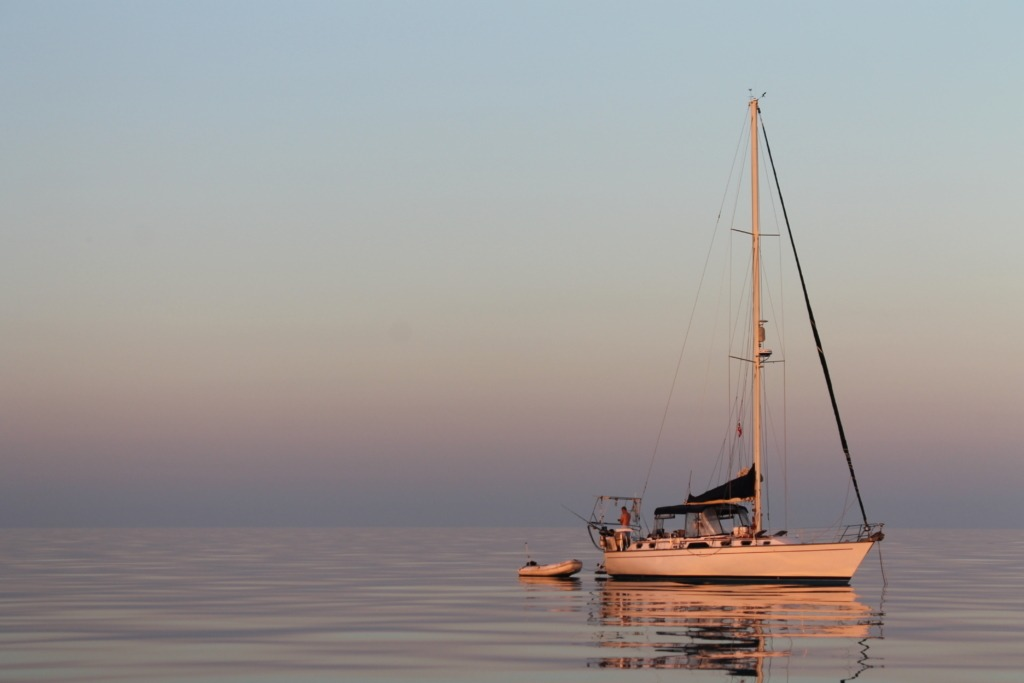 Picture of Satori anchored in calm water