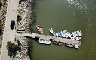 Birds eye view of the town dinghy dock in Luperon, Dominican Republic