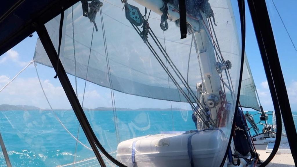 Satori sailing north along Puerto Rico's east coast