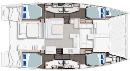 Leopard 45 - cabin layout - sailing satori