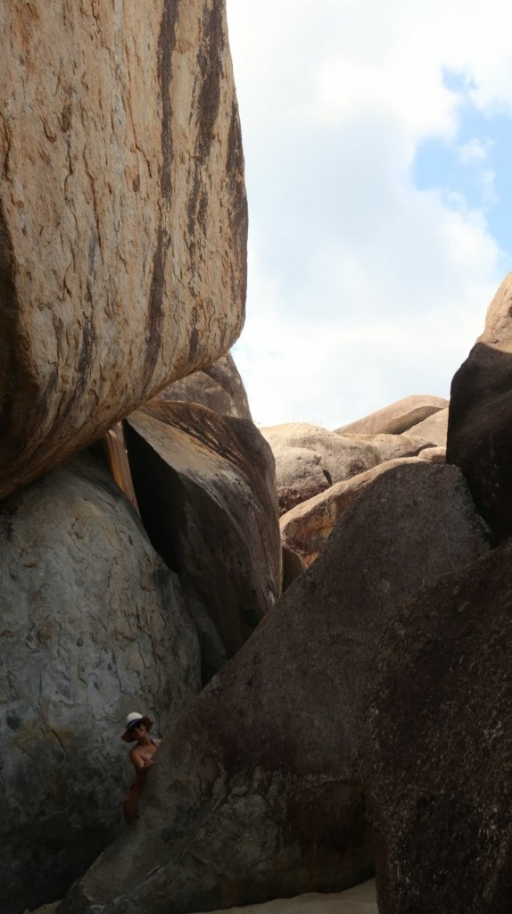 view from inside the boulder at the baths in virgin gorda bvi