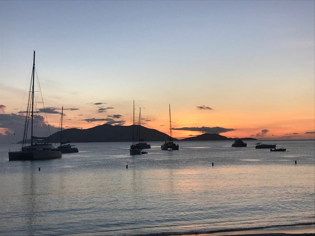 cane garden bay sunset sailing satori BVI