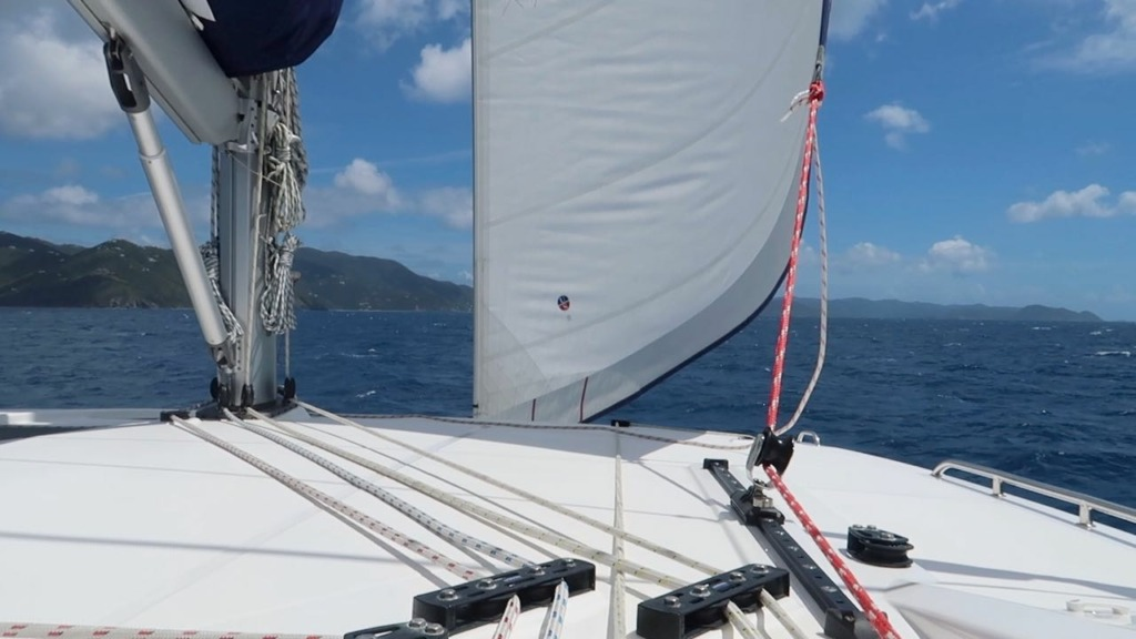 view from cockpit of leopard 45 catamaran